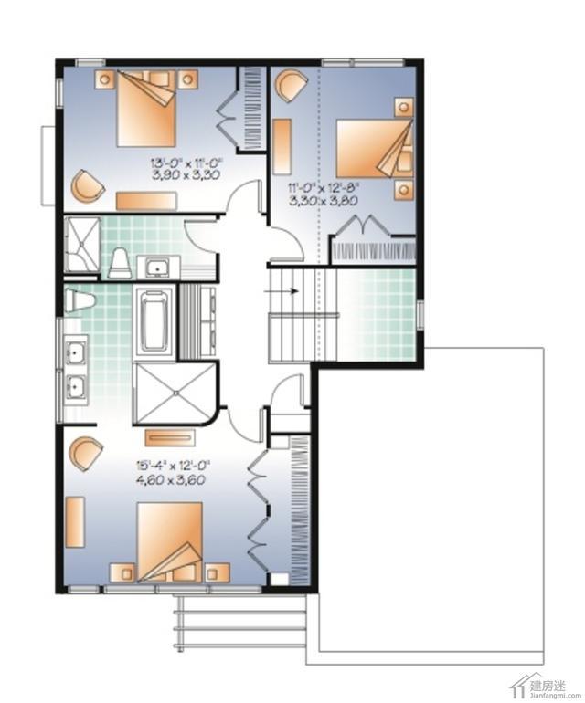 现代风格自建房设计图两层占地10.8米x13.8