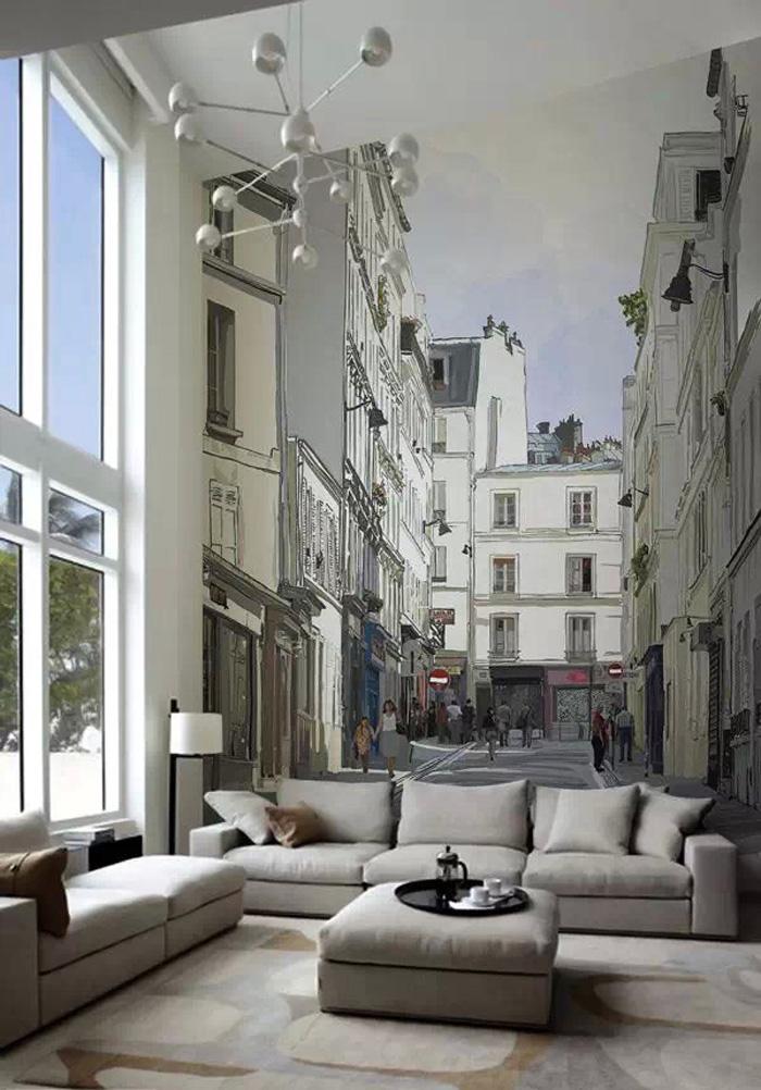 欧式设计的手绘图案色彩比较中性,低调,墙绘图案主要来源于古典的欧式